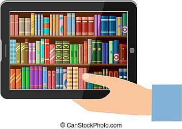 Hand holding tablet with digital books