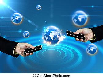hand holding, tablette, mit, welt