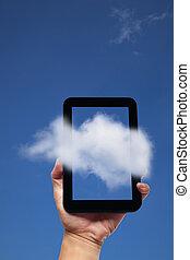 hand holding, tablette pc, und, wolke, hintergrund