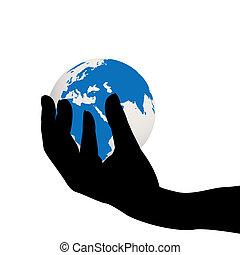 Hand holding the Earth globe