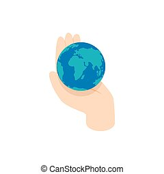 Hand holding the earth icon, isometric 3d style