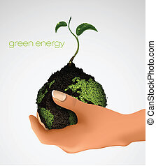 hand holding the earth with the germ, the concept of ecology