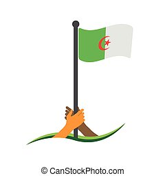 Hand holding the flag. Algeria flag vector.