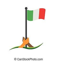 Hand holding the flag. Italy flag vector.