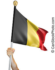 Man's hand holding a flag pole with the Belgian national flag proudly displayed against a white background. The flag has been rendered with 3D software.