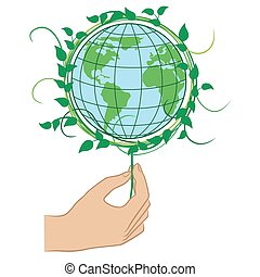 Hand holding the Green Planet Earth