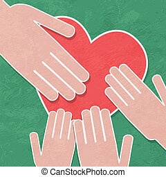 Hand holding the heart. Charity. hands hold a heart