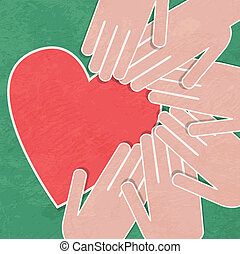 Hand holding the heart. Charity. han