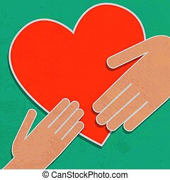 Hand holding the heart. Charity