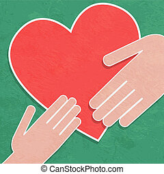 Hand holding the heart. Charity.hands hold a heart