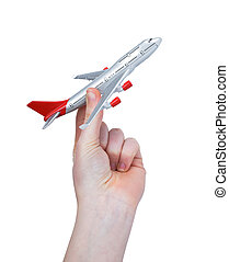 Hand holding the toy plane isolated on white background