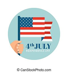 Hand holding the United States of America flag - vector illustration