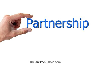 hand holding the word partnership isolated on white backgound