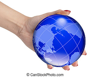Hand holding the world globe