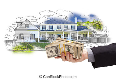Hand Holding Thousands In Cash Over House Drawing and Photo...