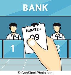 Hand holding ticket queue
