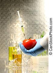 Hand holding tomato with syringe