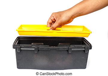 Hand holding tool box Isolated on White Background