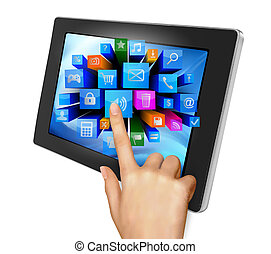 Hand holding touch pad pc and finger touching it's screen with icons. Vector.