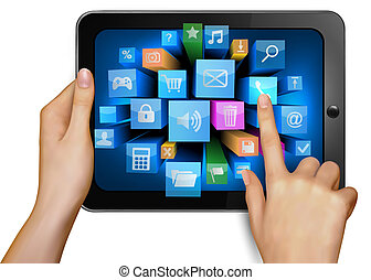 Hand holding touch pad pc and finger touching it s screen...