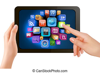 Hand holding touch pad pc and finger touching it's screen ...