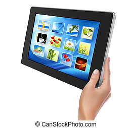 Hand holding touch pad pc. Vector.