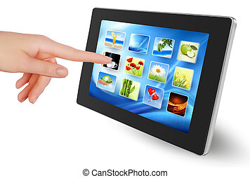 Hand holding touch pad pc with icon