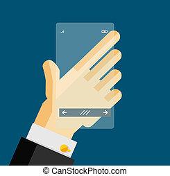 Hand holding transparent screen mobile phone. Flat design ...