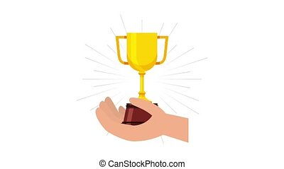 hand holding trophy cup award animation hd