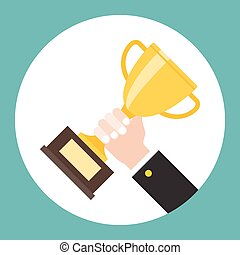 hand holding trophy, successful business concept flat design