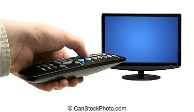 TV remote - Hand holding TV remote control. Isolated on a...