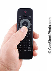 Hand holding TV remote control