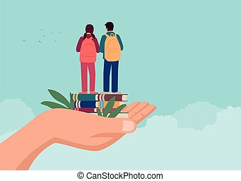 Hand holding two children standing on books with school backpack