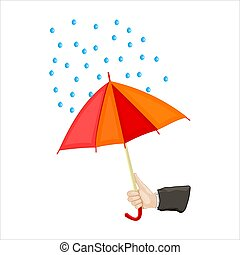 Human hand holding open red and yellow parasol with raindrops. Abstract rainy weather design. Protection or insurance concept. Stock vector illustration