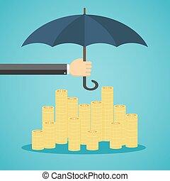 Hand holding umbrella to protect money.