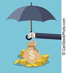 Hand holding umbrella under rain to protect money.