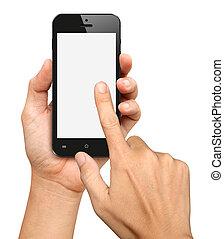 hand holding, und, berühren, auf, schwarz, smartphone