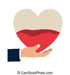 hand holding up a heart bag with blood