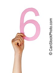 hand holding up a number six, isolated