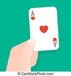 Hand holding up a playing card ace of hearts over a green...