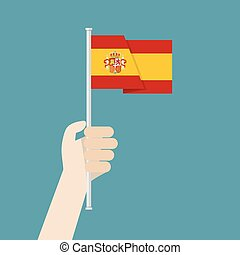 Hand holding up Spain flag