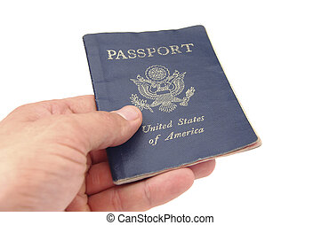US passport - Hand holding US passport on white background
