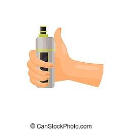 Hand holding vape on white background. Vaping time.