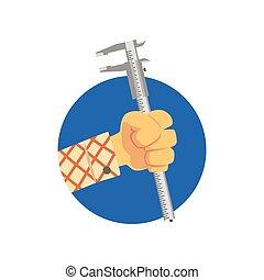 Hand holding vernier caliper or stangenzirkel, construction...