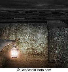 Hand holding vintage lamp illuminated dark maze entrance