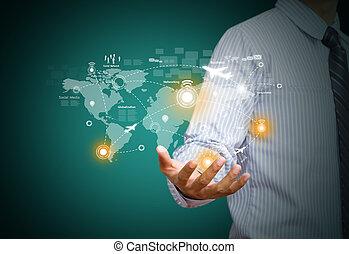 Hand holding virtual world map - Businessman holding virtual...