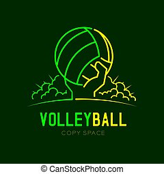 Hand holding Volleyball with radius cloud logo icon outline stroke set dash line design illustration isolated on dark green background with Volleyball text and copy space, vector eps 10