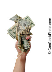 Hand holding wad of cash - A hand holding a wad of cash on a...