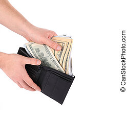 Hand holding wallet with dollar bills. Isolated on a white...