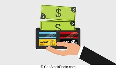 hand holding wallet with dollars and bank cards animation hd